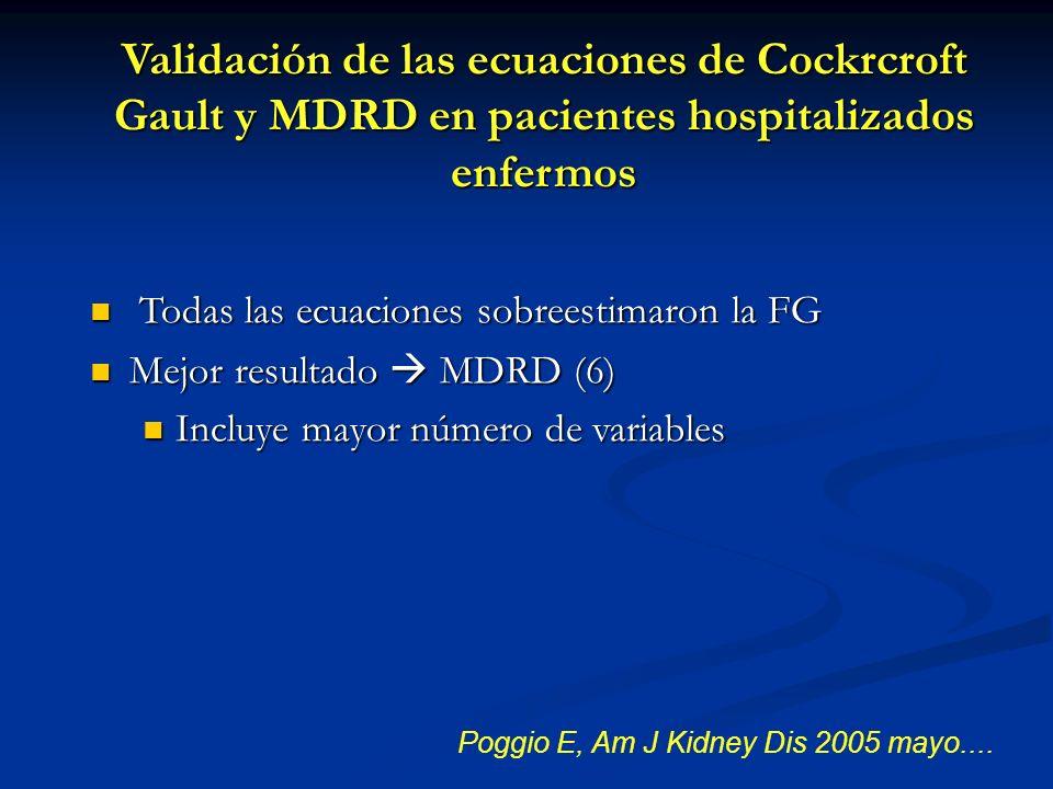 Poggio E, Am J Kidney Dis 2005 mayo.... Todas las ecuaciones sobreestimaron la FG Todas las ecuaciones sobreestimaron la FG Mejor resultado MDRD (6) M