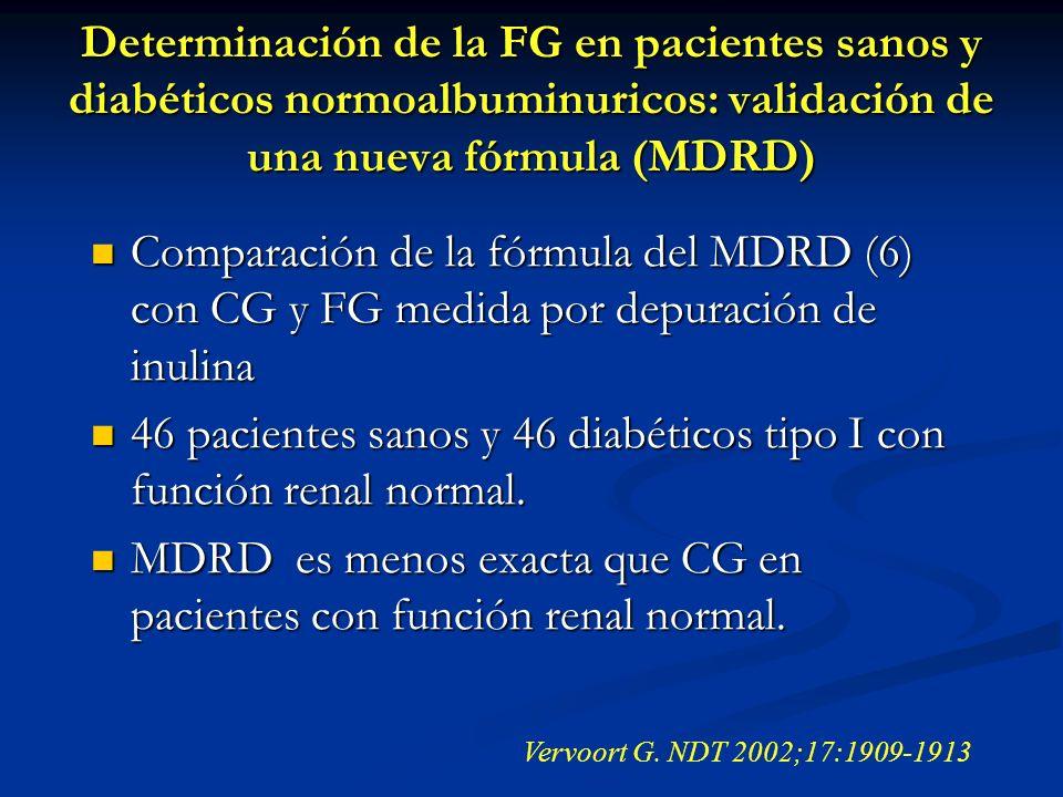 Determinación de la FG en pacientes sanos y diabéticos normoalbuminuricos: validación de una nueva fórmula (MDRD) Comparación de la fórmula del MDRD (