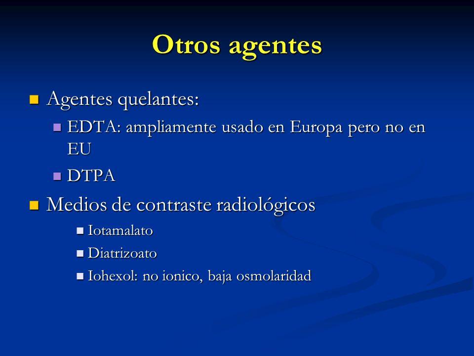 Otros agentes Agentes quelantes: Agentes quelantes: EDTA: ampliamente usado en Europa pero no en EU EDTA: ampliamente usado en Europa pero no en EU DT