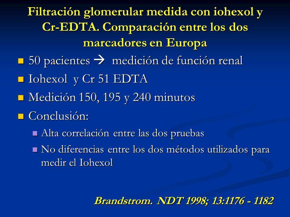 Filtración glomerular medida con iohexol y Cr-EDTA. Comparación entre los dos marcadores en Europa 50 pacientes medición de función renal 50 pacientes