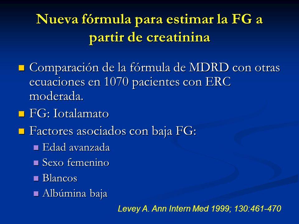 La depuración de creatinina sobreestimó la FG en 19% La depuración de creatinina sobreestimó la FG en 19% La ecuación de CG sobreestimó la FG en 16% La ecuación de CG sobreestimó la FG en 16% La ecuación de MDRD fue más exacta que la depuración de creatinina y otras ecuaciones.