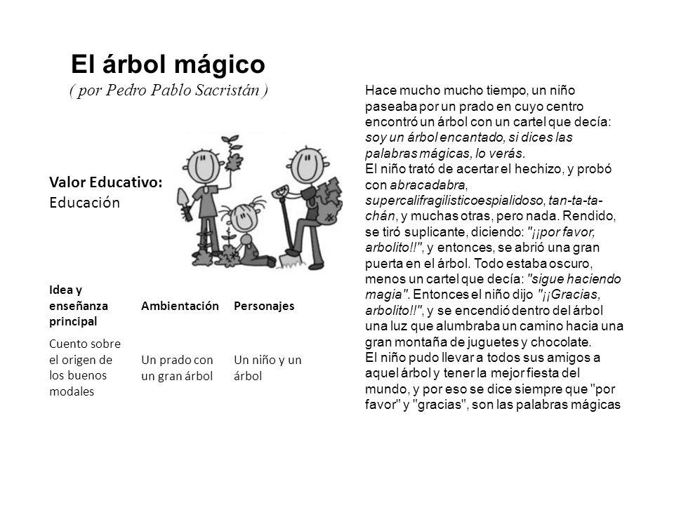 Valor Educativo: Educación El árbol mágico ( por Pedro Pablo Sacristán ) Hace mucho mucho tiempo, un niño paseaba por un prado en cuyo centro encontró