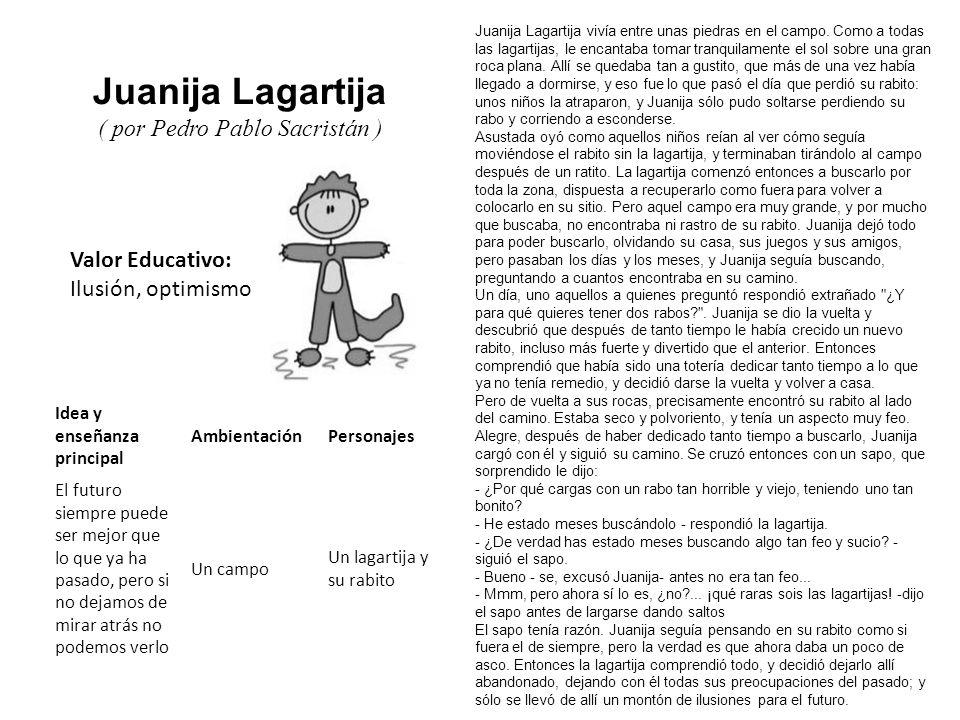 Valor Educativo: Ilusión, optimismo Juanija Lagartija ( por Pedro Pablo Sacristán ) Juanija Lagartija vivía entre unas piedras en el campo. Como a tod