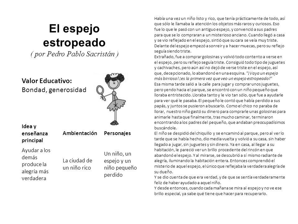 Valor Educativo: Bondad, generosidad El espejo estropeado ( por Pedro Pablo Sacristán ) Había una vez un niño listo y rico, que tenía prácticamente de
