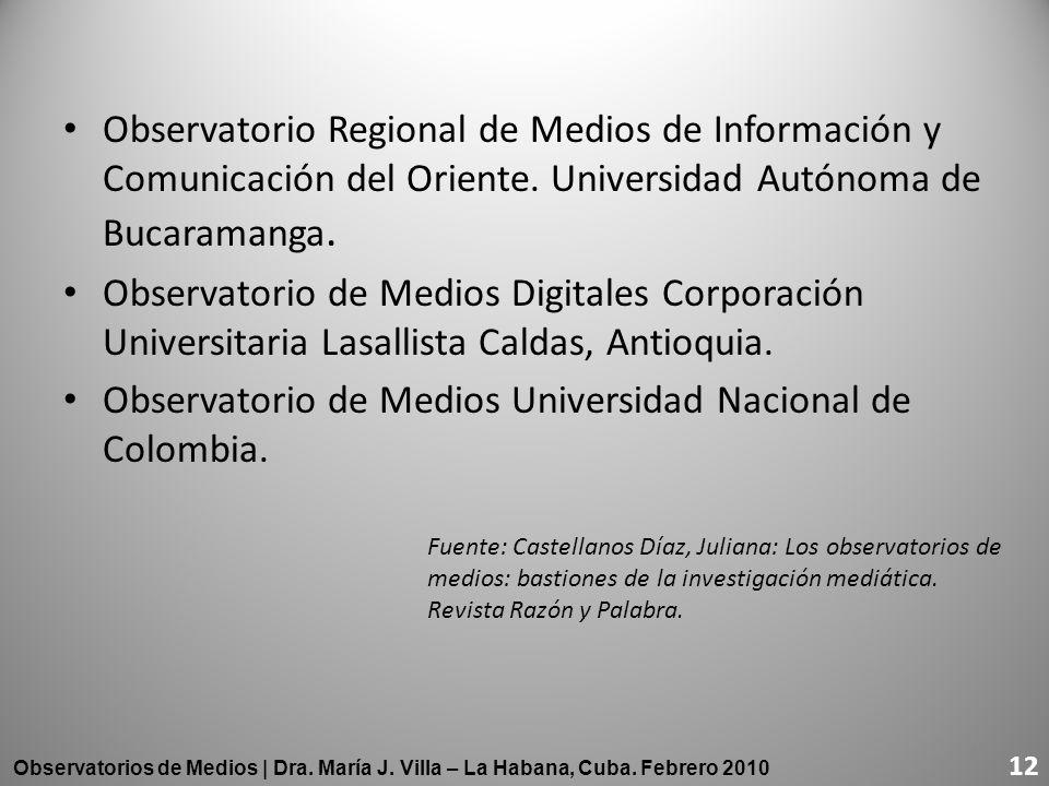 Observatorio Regional de Medios de Información y Comunicación del Oriente. Universidad Autónoma de Bucaramanga. Observatorio de Medios Digitales Corpo