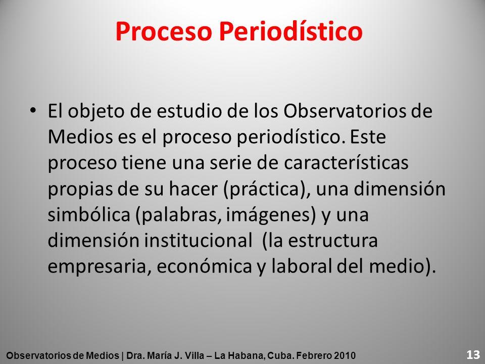 Proceso Periodístico El objeto de estudio de los Observatorios de Medios es el proceso periodístico. Este proceso tiene una serie de características p