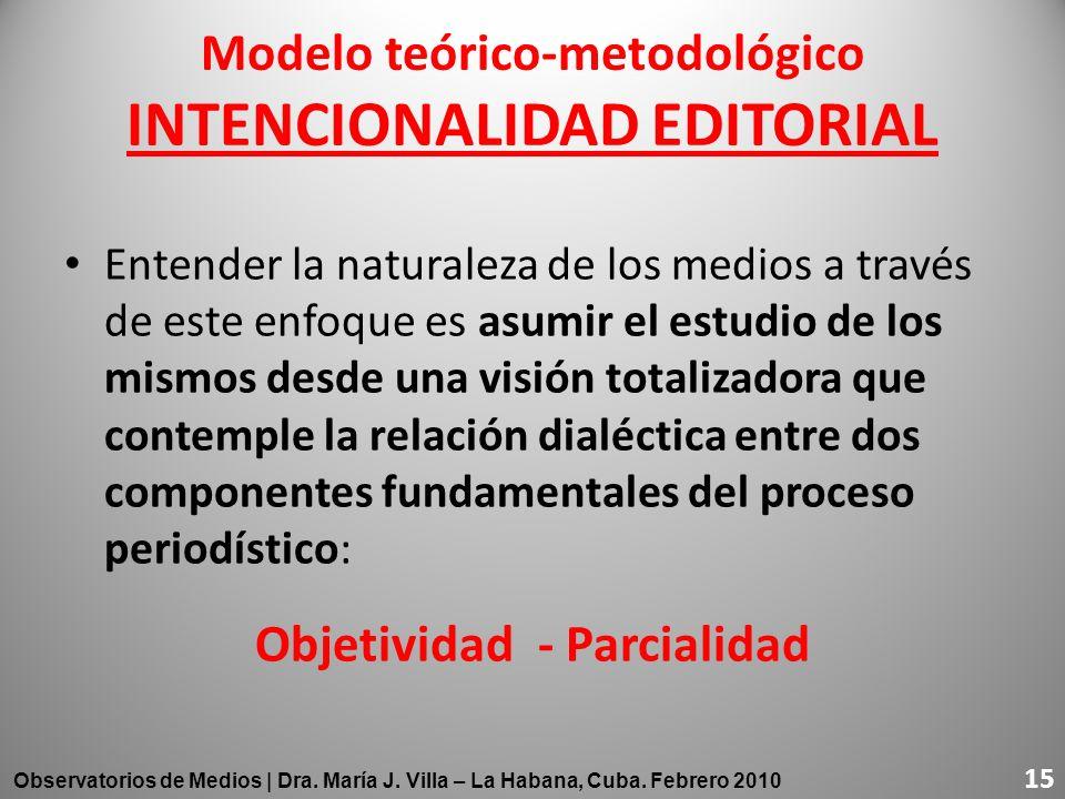 Modelo teórico-metodológico INTENCIONALIDAD EDITORIAL Entender la naturaleza de los medios a través de este enfoque es asumir el estudio de los mismos