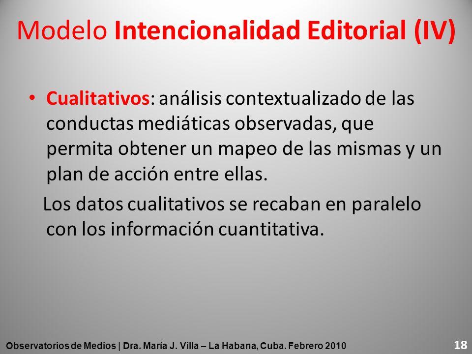 Cualitativos: análisis contextualizado de las conductas mediáticas observadas, que permita obtener un mapeo de las mismas y un plan de acción entre el