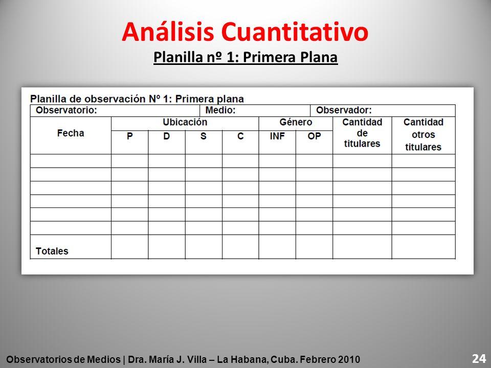 Planilla nº 1: Primera Plana 24 Observatorios de Medios | Dra. María J. Villa – La Habana, Cuba. Febrero 2010 24 Análisis Cuantitativo