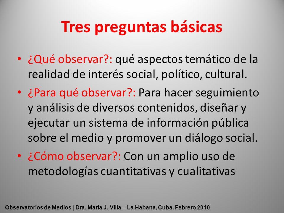 Tres preguntas básicas ¿Qué observar?: qué aspectos temático de la realidad de interés social, político, cultural. ¿Para qué observar?: Para hacer seg