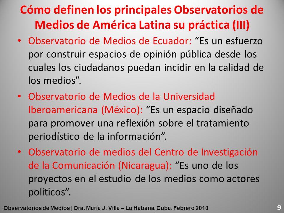 Observatorio de Medios de Ecuador: Es un esfuerzo por construir espacios de opinión pública desde los cuales los ciudadanos puedan incidir en la calid