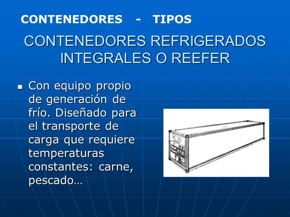 CONTENEDOR TÉRMICO Contenedor destinado al transporte de cargas perecederas, pudiendo ser calentado o refrigerado. Contenedor destinado al transporte