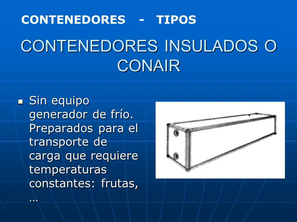 CONTENEDORES REFRIGERADOS INTEGRALES O REEFER Con equipo propio de generación de frío. Diseñado para el transporte de carga que requiere temperaturas