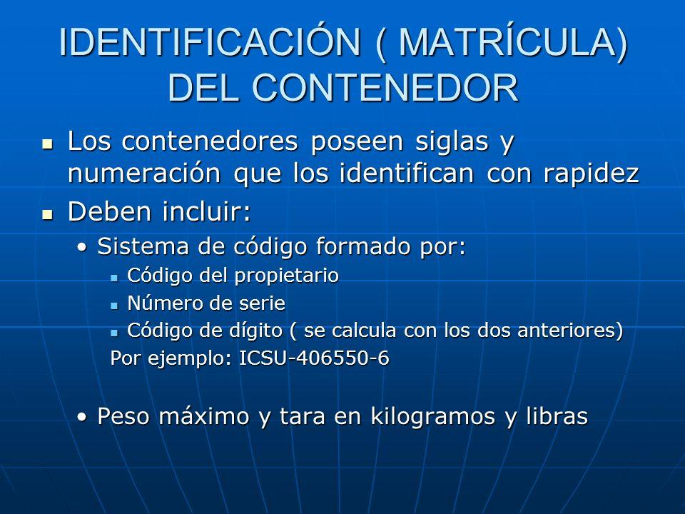 REGULACIÓN DE LOS CONTENEDORES Normas ISO, establecen medidas estándares de los contenedores Normas ISO, establecen medidas estándares de los contened