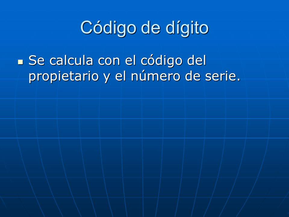 Número de serie Formado por seis algoritmos arábigos. Cuando no llega a seis se completa con tantos ceros como sean necesarios Formado por seis algori