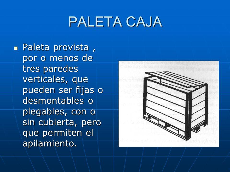 PALETA CON ALAS Es aquella que el piso o los pisos sobresale a un lado de los largueros para facilitar además la suspensión con eslingas ( son más usu