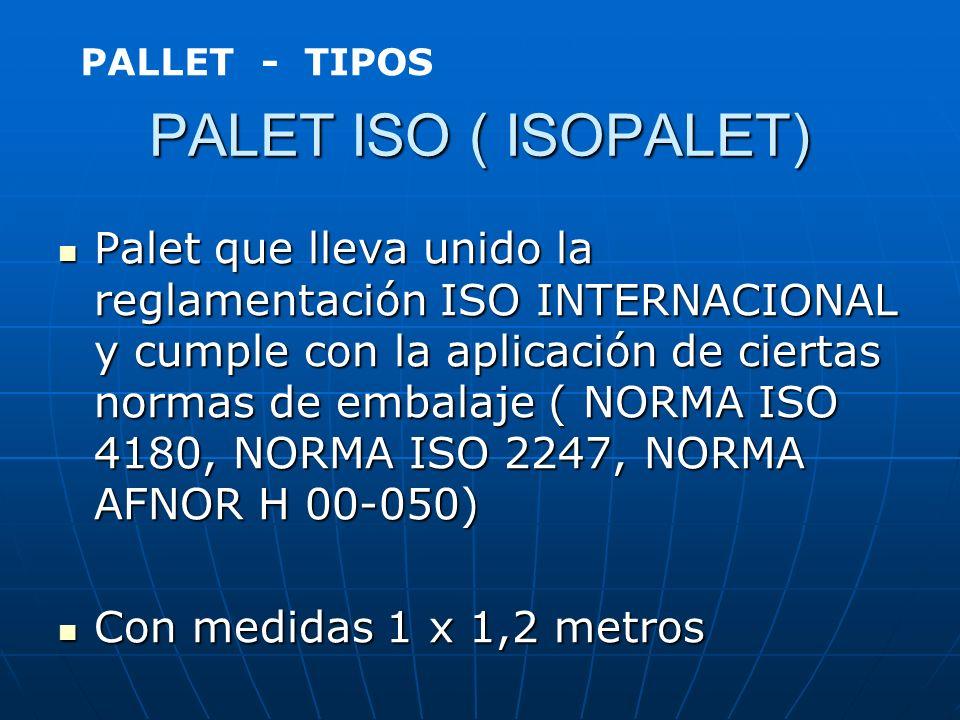 EUROPALET Es un modelo de palet estándar de dimensiones 0,80 x 1,20 metros. Es un modelo de palet estándar de dimensiones 0,80 x 1,20 metros. ( NORMA