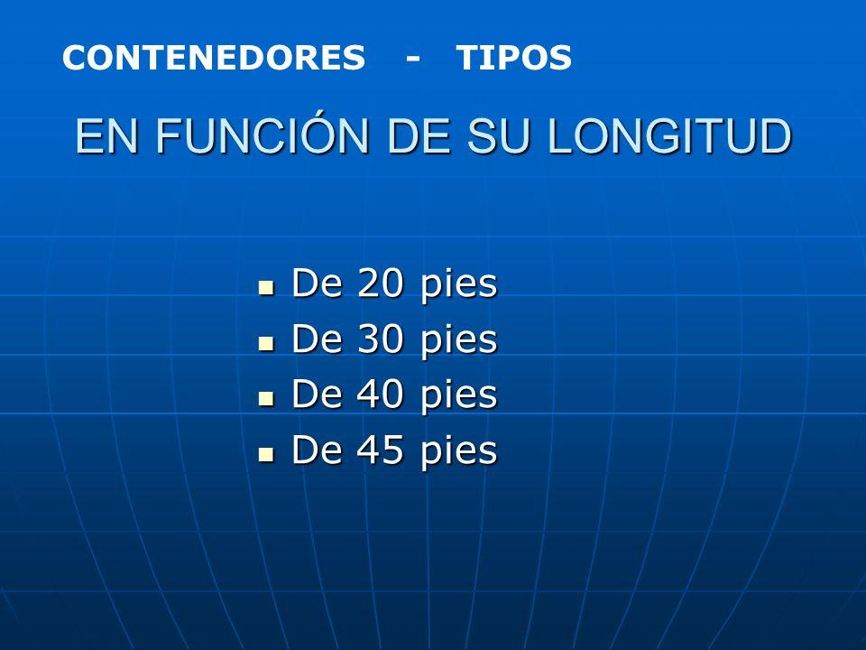 TIPOS DE CONTENEDORES En función de su longitud En función de su longitud En función de su anchura En función de su anchura En función de su altura En