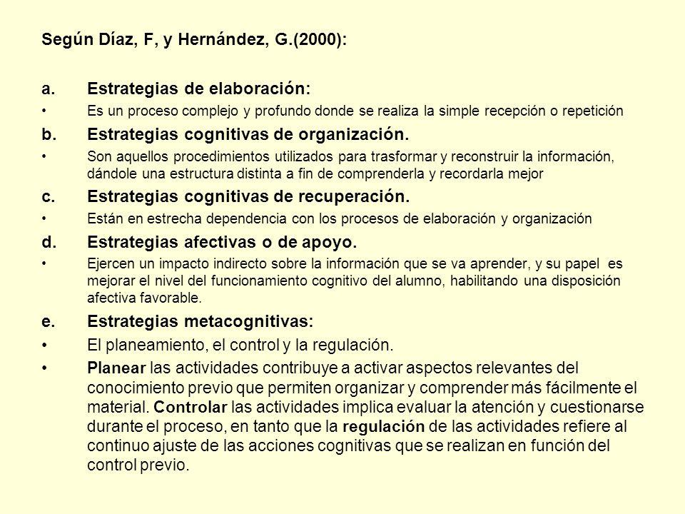 Según Díaz, F, y Hernández, G.(2000): a.Estrategias de elaboración: Es un proceso complejo y profundo donde se realiza la simple recepción o repetició