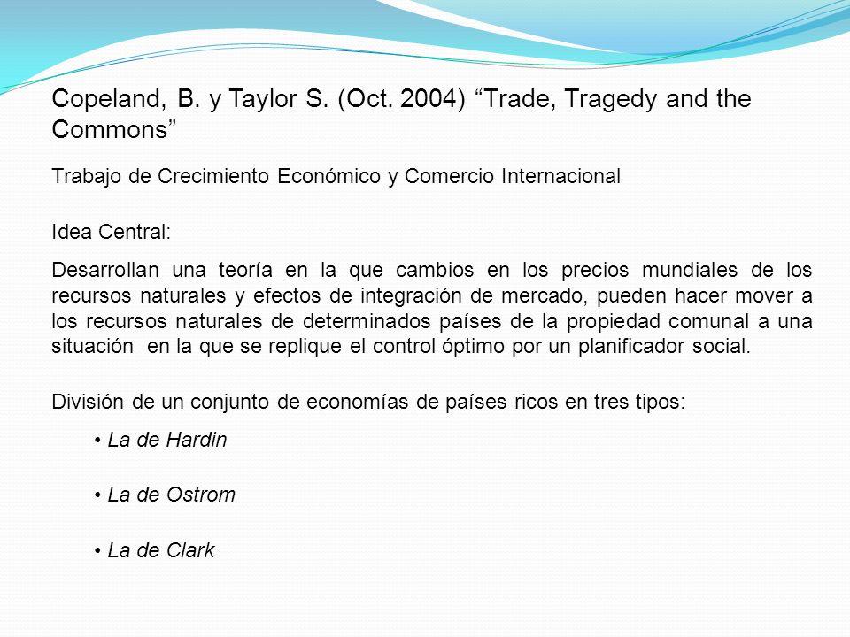 La economía de Hardin: Para todo vector de precios mundial, estas economías tienen rentas igual a cero y sufren tragedias de los comunes.