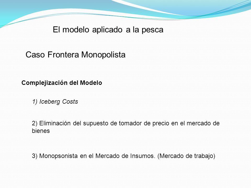 Complejización del Modelo (cont.) Restricciones a la pesca Restricciones al capital 5) Incorporación de Gobierno Captura Reproducción Almacenamiento Esperanzas sobre los precios 4) Modelo Estocástico