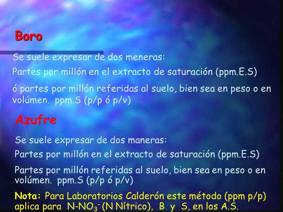 Ej: P = 78 ppm p/v. Cuantos Kg/Ha P ? 78 x 2000 = 156.000 gr/Ha/1000 = 156 Kg/Ha de P X 2.29 = 357 Kg/Ha de P 2 O 5. Ej: Fe = 69 ppm p/v. Cuantos Kg/H