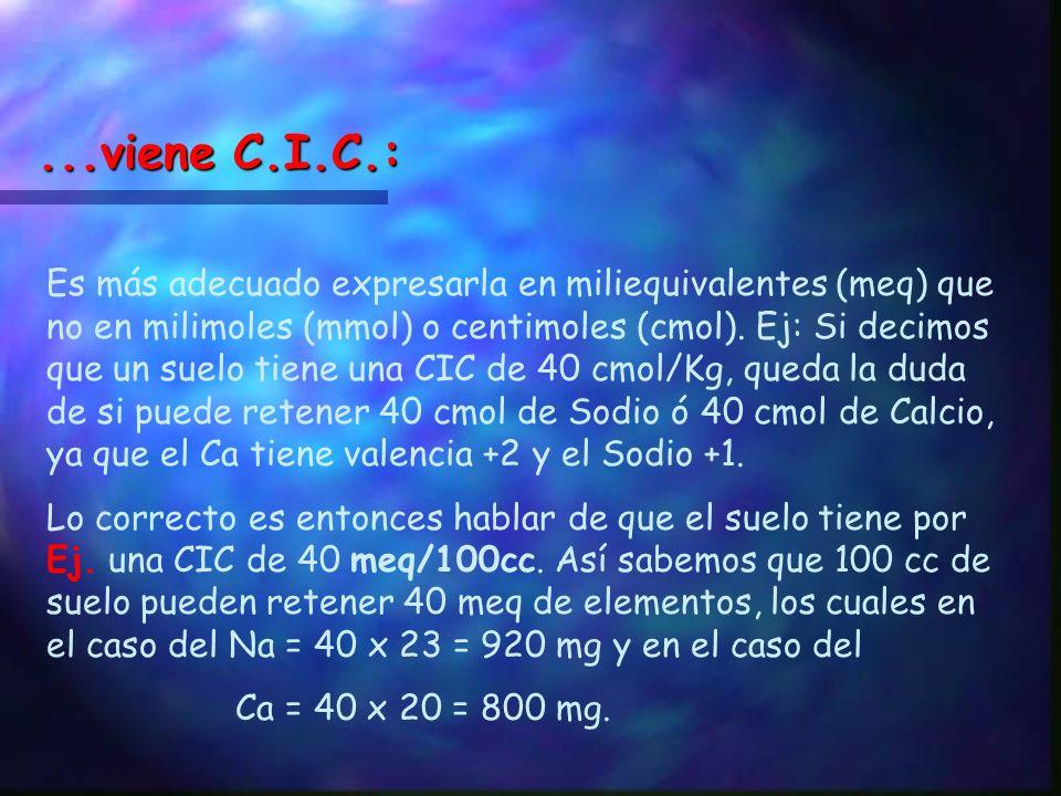 C.I.C.: Capacidad de Intercambio Catióinico Miliequivalentes referidos al suelo en 100 cc de suelo en pasta saturada. También se utiliazan las unidade