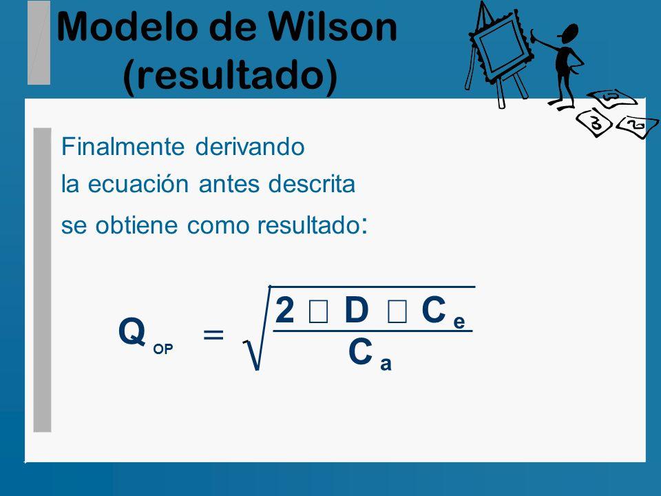 Modelo de Wilson (resultado) Finalmente derivando la ecuación antes descrita se obtiene como resultado : Q 2DC C OP e a