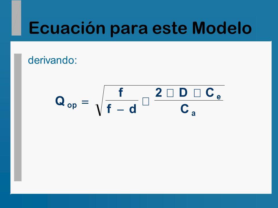 Ecuación para este Modelo derivando: Q f fd 2DC C op e a