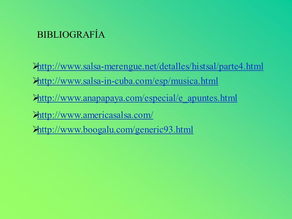 BIBLIOGRAFÍA http://www.salsa-merengue.net/detalles/histsal/parte4.html http://www.salsa-in-cuba.com/esp/musica.html http://www.anapapaya.com/especial