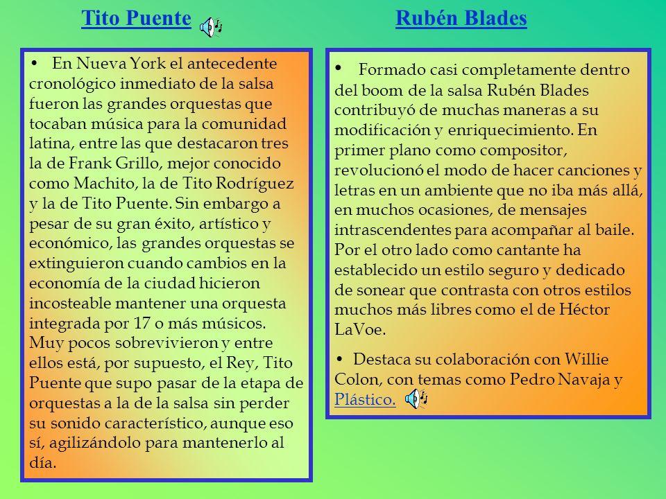 Tito Puente En Nueva York el antecedente cronológico inmediato de la salsa fueron las grandes orquestas que tocaban música para la comunidad latina, e