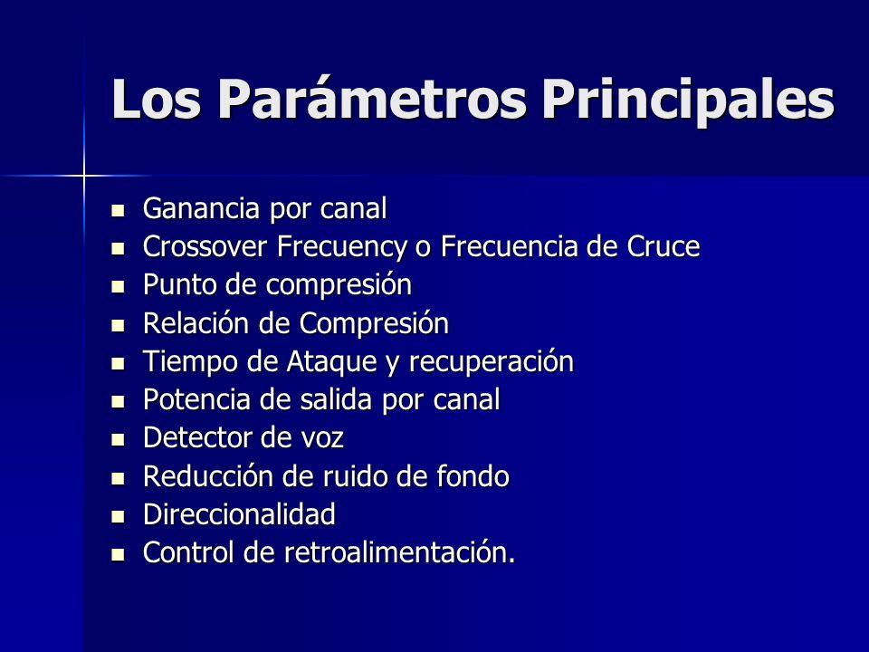 Los Parámetros Principales Ganancia por canal Ganancia por canal Crossover Frecuency o Frecuencia de Cruce Crossover Frecuency o Frecuencia de Cruce P