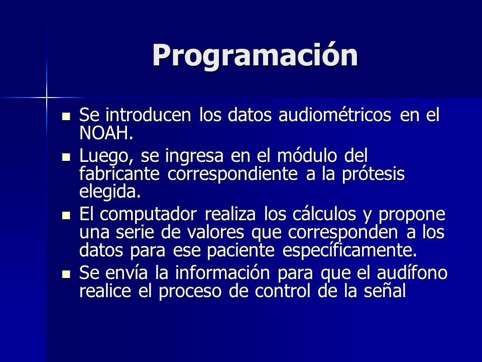 Programación Se introducen los datos audiométricos en el NOAH. Se introducen los datos audiométricos en el NOAH. Luego, se ingresa en el módulo del fa