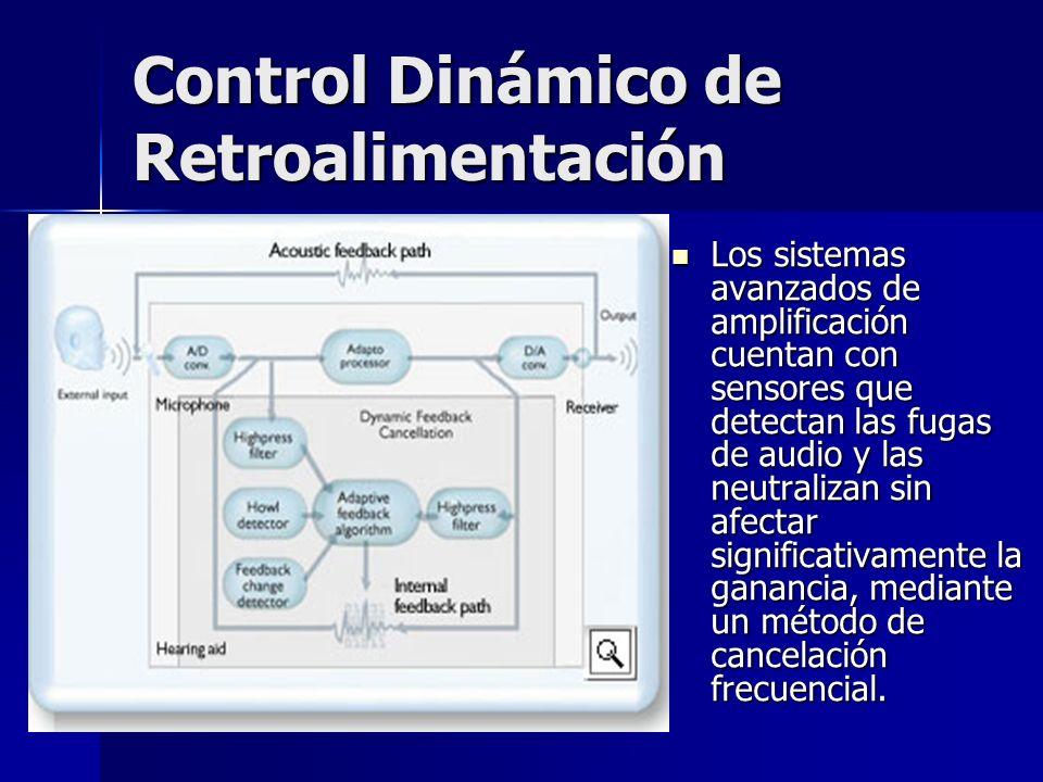 Control Dinámico de Retroalimentación Los sistemas avanzados de amplificación cuentan con sensores que detectan las fugas de audio y las neutralizan s