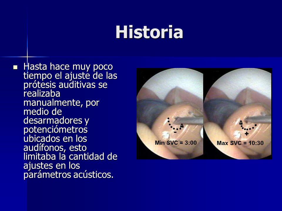 Historia Hasta hace muy poco tiempo el ajuste de las prótesis auditivas se realizaba manualmente, por medio de desarmadores y potenciómetros ubicados