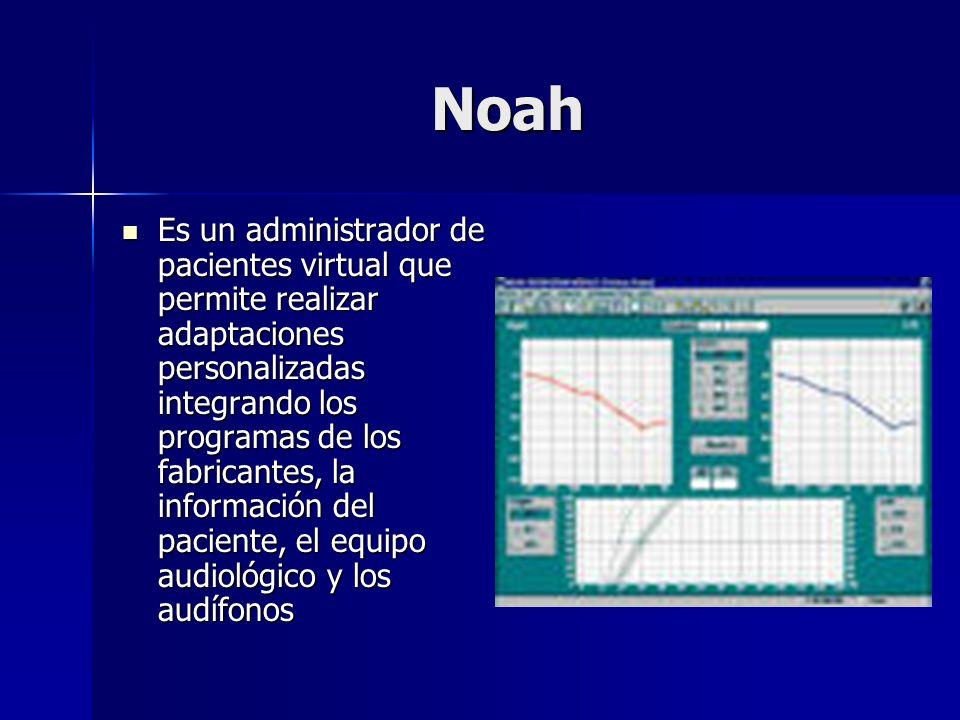 Noah Es un administrador de pacientes virtual que permite realizar adaptaciones personalizadas integrando los programas de los fabricantes, la informa