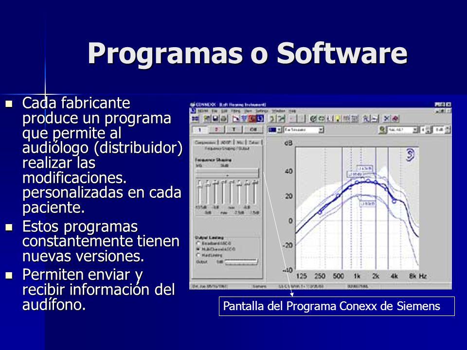 Programas o Software Cada fabricante produce un programa que permite al audiólogo (distribuidor) realizar las modificaciones. personalizadas en cada p