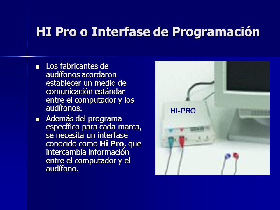HI Pro o Interfase de Programación Los fabricantes de audífonos acordaron establecer un medio de comunicación estándar entre el computador y los audíf