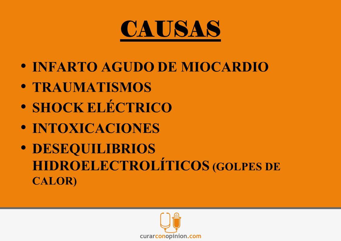 CAUSAS INFARTO AGUDO DE MIOCARDIO TRAUMATISMOS SHOCK ELÉCTRICO INTOXICACIONES DESEQUILIBRIOS HIDROELECTROLÍTICOS (GOLPES DE CALOR)