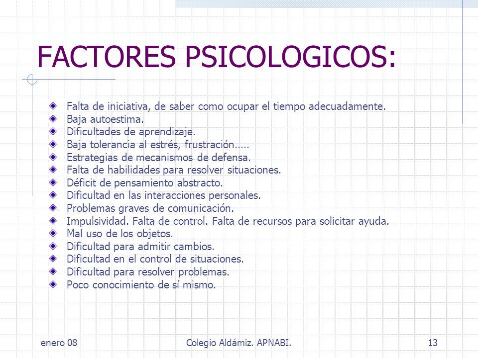 enero 08Colegio Aldámiz. APNABI.13 FACTORES PSICOLOGICOS: Falta de iniciativa, de saber como ocupar el tiempo adecuadamente. Baja autoestima. Dificult