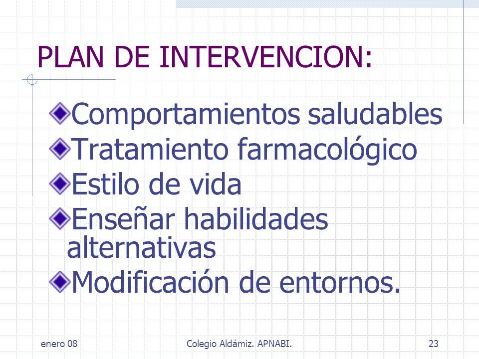 enero 08Colegio Aldámiz. APNABI.23 PLAN DE INTERVENCION: Comportamientos saludables Tratamiento farmacológico Estilo de vida Enseñar habilidades alter