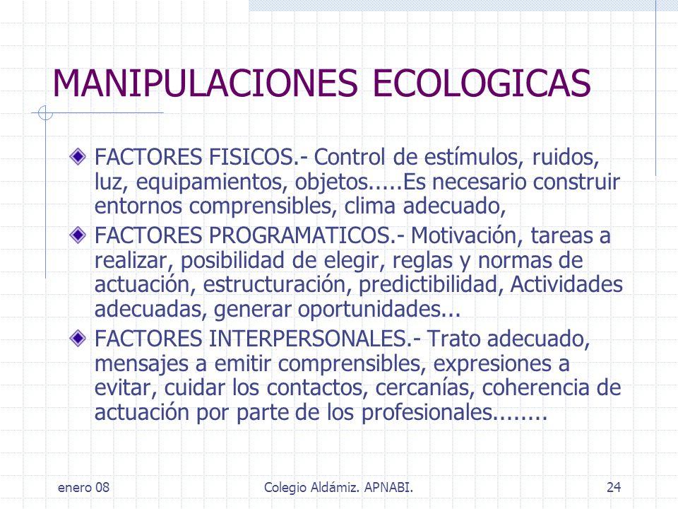 enero 08Colegio Aldámiz. APNABI.24 MANIPULACIONES ECOLOGICAS FACTORES FISICOS.- Control de estímulos, ruidos, luz, equipamientos, objetos.....Es neces