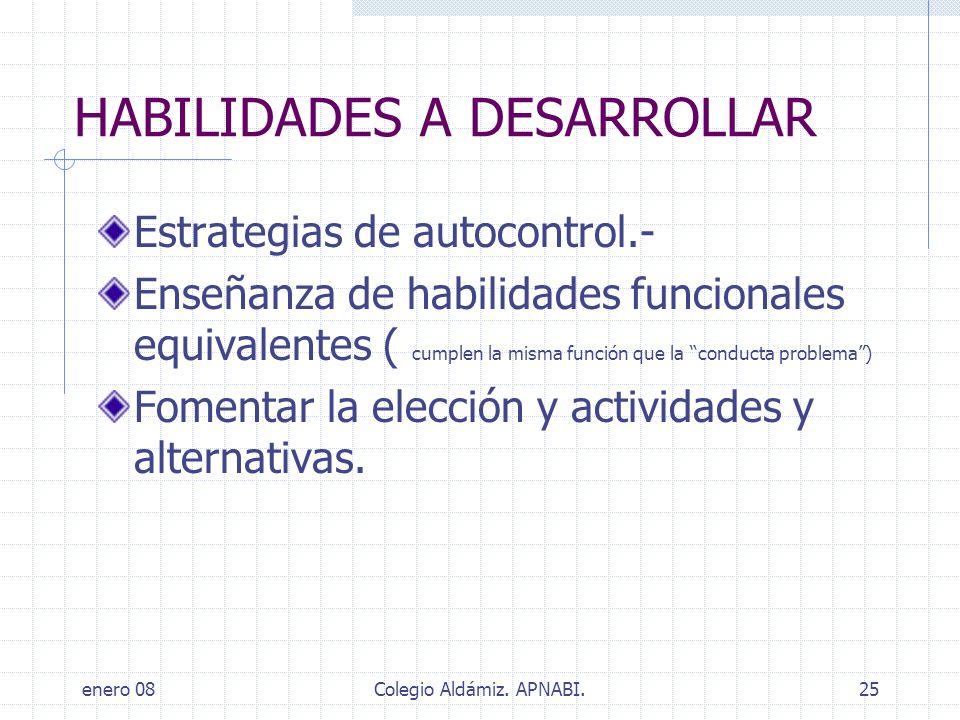 enero 08Colegio Aldámiz. APNABI.25 HABILIDADES A DESARROLLAR Estrategias de autocontrol.- Enseñanza de habilidades funcionales equivalentes ( cumplen
