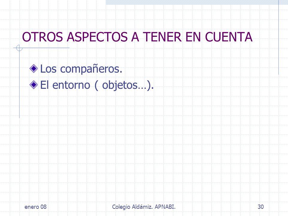 enero 08Colegio Aldámiz. APNABI.30 OTROS ASPECTOS A TENER EN CUENTA Los compañeros. El entorno ( objetos…).
