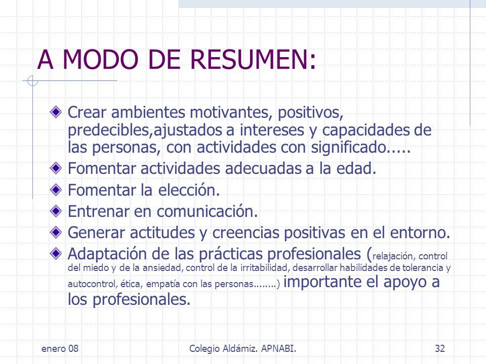 enero 08Colegio Aldámiz. APNABI.32 A MODO DE RESUMEN: Crear ambientes motivantes, positivos, predecibles,ajustados a intereses y capacidades de las pe