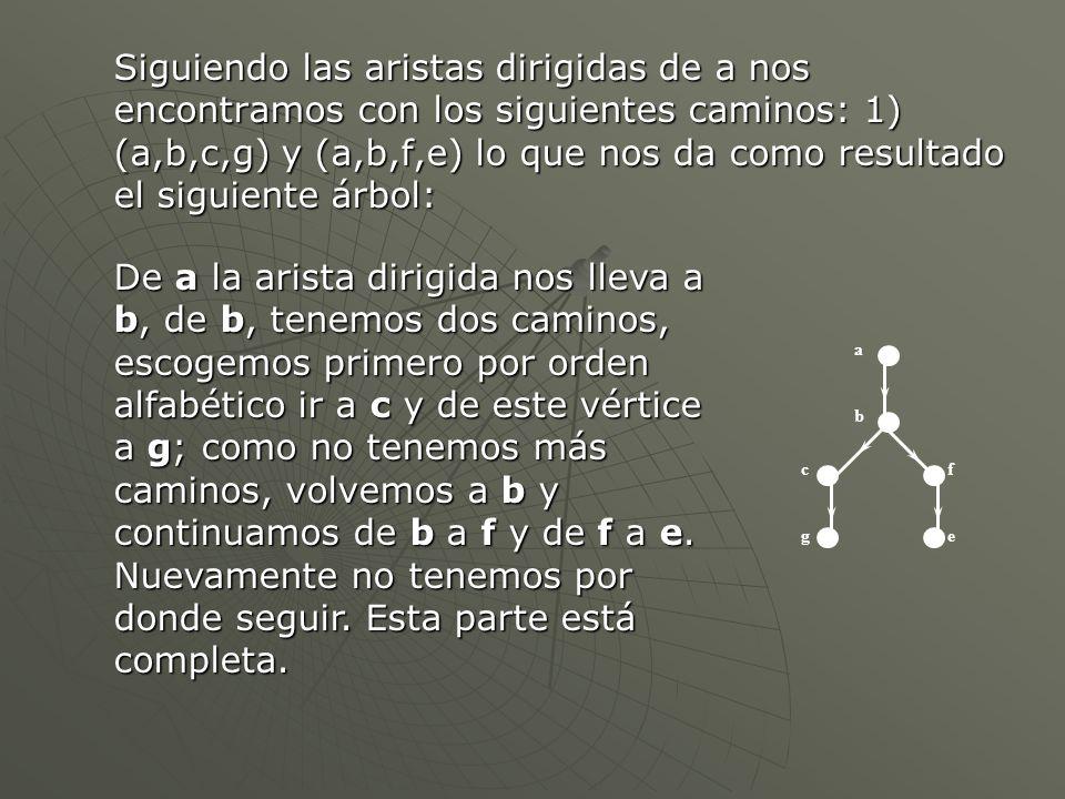 Siguiendo las aristas dirigidas de a nos encontramos con los siguientes caminos: 1) (a,b,c,g) y (a,b,f,e) lo que nos da como resultado el siguiente ár