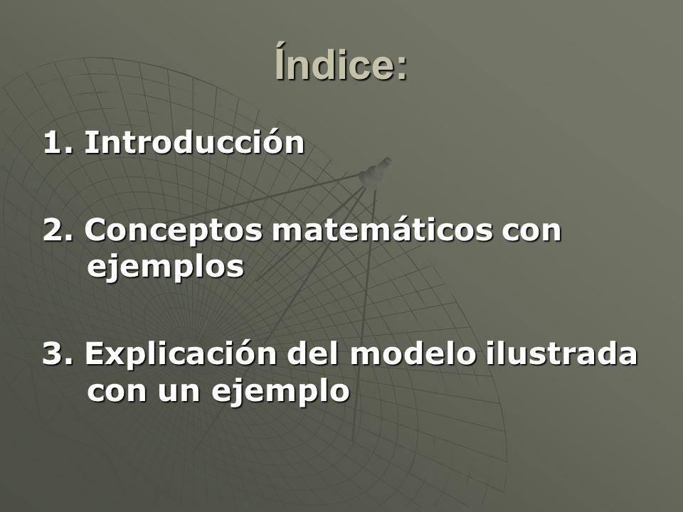Índice: 1. Introducción 2. Conceptos matemáticos con ejemplos 3. Explicación del modelo ilustrada con un ejemplo