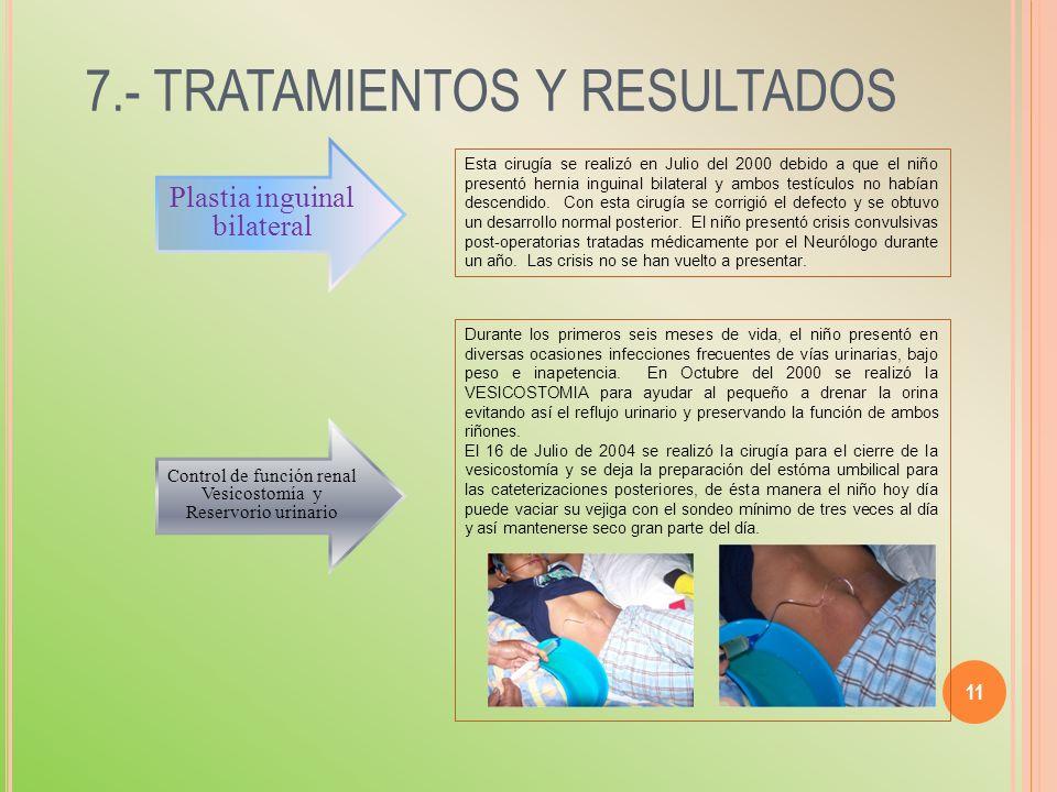 7.- TRATAMIENTOS Y RESULTADOS 11 Esta cirugía se realizó en Julio del 2000 debido a que el niño presentó hernia inguinal bilateral y ambos testículos