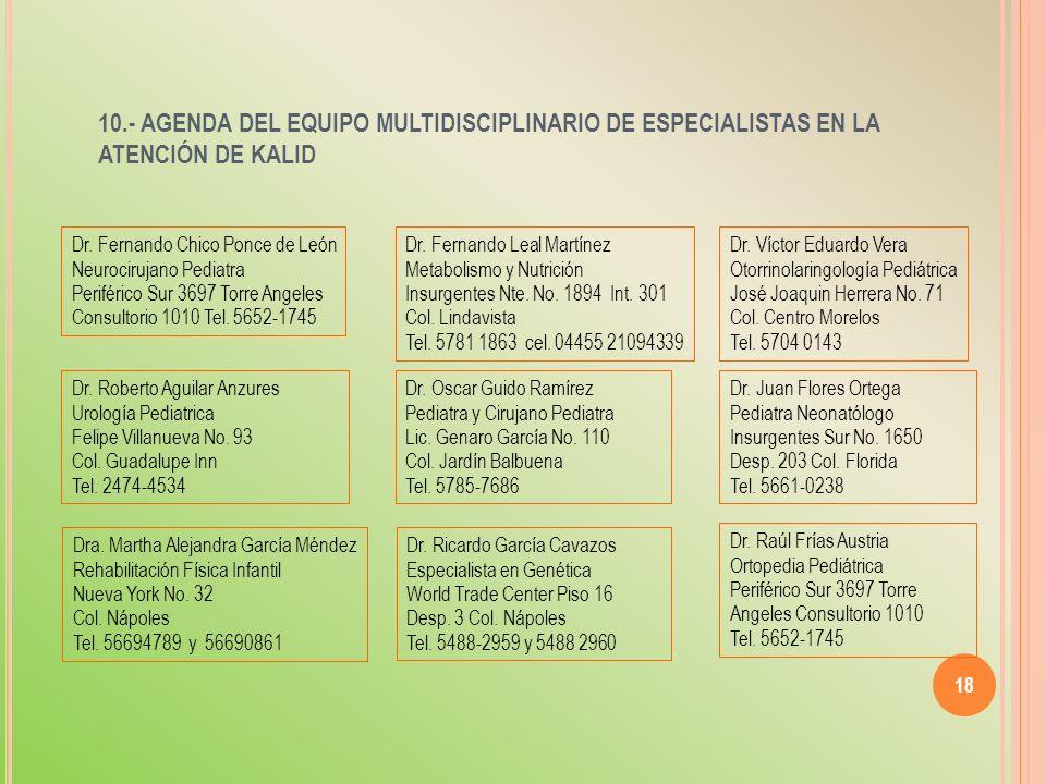 10.- AGENDA DEL EQUIPO MULTIDISCIPLINARIO DE ESPECIALISTAS EN LA ATENCIÓN DE KALID 18 Dr. Fernando Chico Ponce de León Neurocirujano Pediatra Periféri