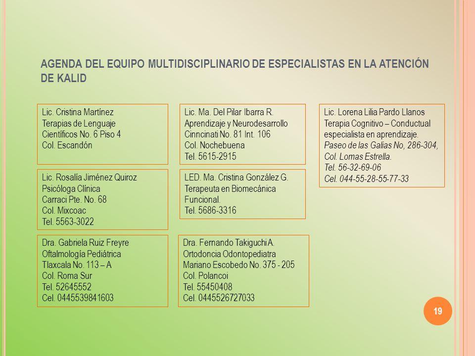 AGENDA DEL EQUIPO MULTIDISCIPLINARIO DE ESPECIALISTAS EN LA ATENCIÓN DE KALID 19 Lic. Cristina Martínez Terapias de Lenguaje Científicos No. 6 Piso 4